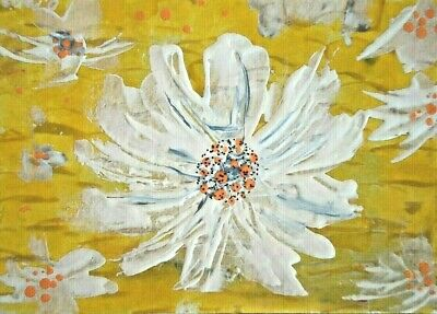 Original ACEO - Flower - miniature abstract acrylic painting - outsider folk art