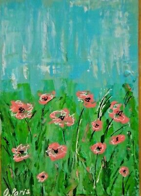 Original ACEO - Poppies - miniature abstract acrylic painting, outsider folk art