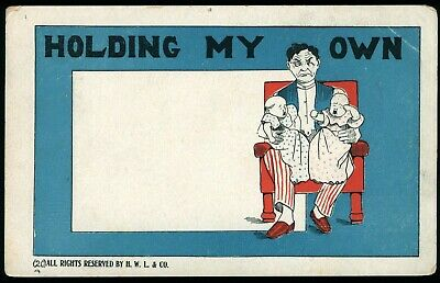 Holding My Own Man 2 Crying Babies Vintage Comic Postcard Unused Undivided Back