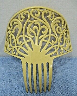 "Antique Celluloid Large Ornate Dark Cream Hair Comb Ornament 7.5"" x 8"""