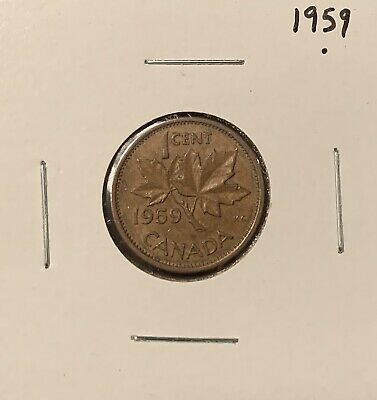 1959 - Canadian Coin - Small One Cent - Penny - Canada