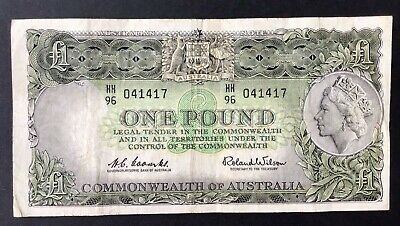 Coombs Wilson 1 Pound £1 Australian PreDecimal Paper Note Ungraded (306) C Of A