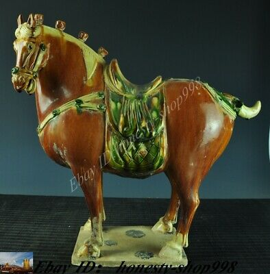Old China Fengshui Luoyang Tang Tri-Color Glazed Ceramics pottery Horse Statue
