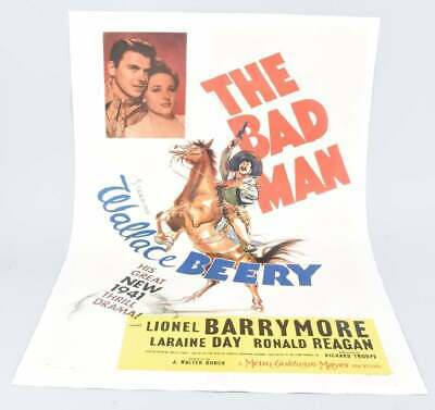 "Original ""The Bad Man"" 1941 Movie Poster w/ Ronald Reagan 41"" x 27"""