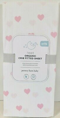 POTTERY BARN BABY ~ ORGANIC HEART CRIB FITTED SHEET ~ PINK ~ 3 AVAILABLE
