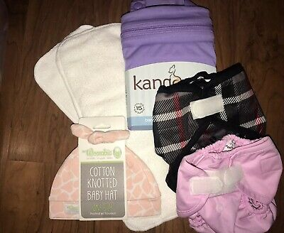 6 Piece Cloth Diaper Lot NEW WITH TAGS Wet Bag Diaper Covers Diaper Inserts Hat