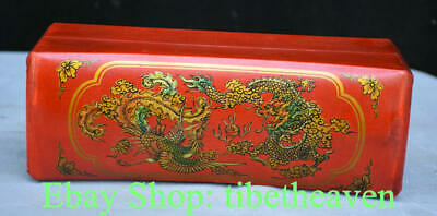 """10.2"""" Old Chinese Red lacquerware Wood Palace Dragon Phoenix Flower Jewelry Box"""
