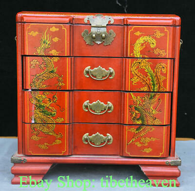 "13.2"" Old Chinese Red lacquerware Wood Dragon Phoenix Flower Drawer Jewelry Box"