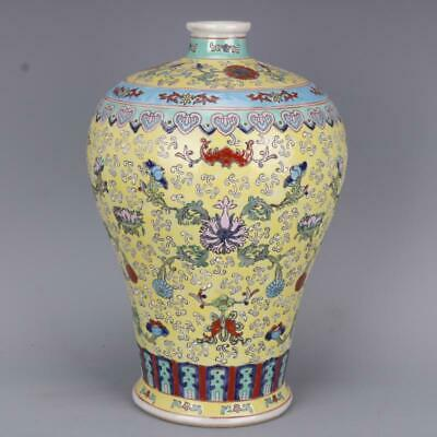 Collect Chinese Qing Dynasty Qianlong Porcelain Famille Rose Fu Shou Flower Vase