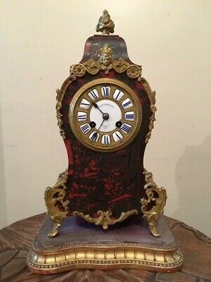 Beautiful French 19C Ormalou mounted Red Boule work mantle clock