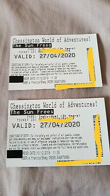 2 X Tickets Chessington World Of Adventures 27th April 2020