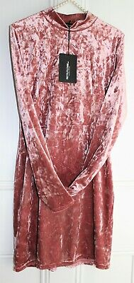 Pretty Little Thing Pink Crushed Velvet Dress ~ Size 16