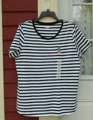 Old Navy NWT Black/White Striped Short Sleeved Crew Neck Pineapple T-Shirt XL