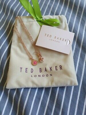 Ted Baker Elvina Enamel Button Necklace Baby Pink RRP £29 - Gift Rose Gold Style