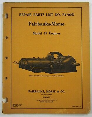 Vintage Fairbanks Morse Engine Catalog Model 47 Machinery Tools Parts List 1938
