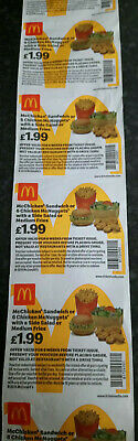 McDonalds Vouchers / Coupons x 50 Meal Vouchers No Expiry Date