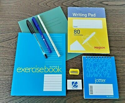 10 Items Home School Study Stationery Pack Bundle Exercise Books Pad Pens Pencil