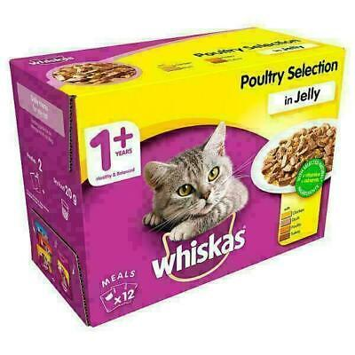 Whiskas Poultry in Jelly Wet Adult 1+ Cat Food Pouches 12 x 100g (Price Marked)