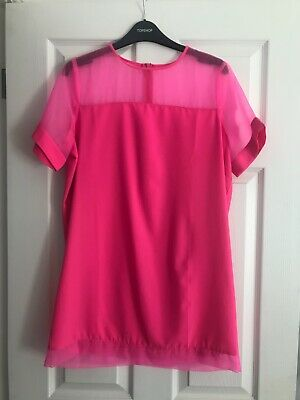 Pretty Little Thing PLT Pink Organza Sleeve Shift Dress Size 10