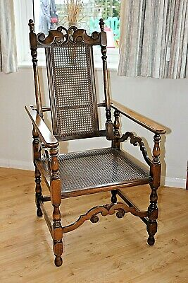 An Early to Mid 20th century reclining caned seat and back chair ,F.Collier