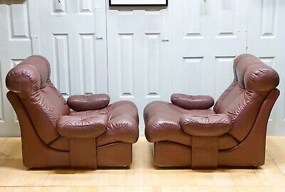 Mid Century Modern Danish Design Leather Modular Sofa Armchairs By U.B.U Ltd