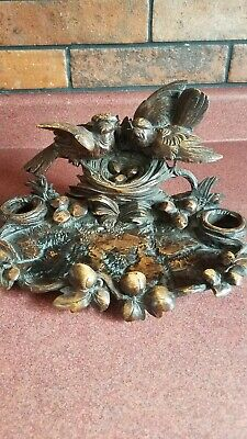 19th c. GERMAN BLACK FOREST CARVED WOODEN FIGURAL INKWELL, BIRDS w/ LEAF TRAYS