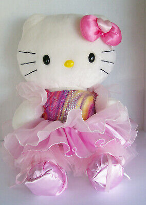 2009 Build-A-Bear White Hello Kitty With Dress Ballerina Shoes Outfit 18""
