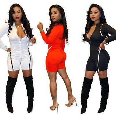Women Long Sleeves Solid Color Zipper Bodycon Casual Club Party Short Jumpsuit
