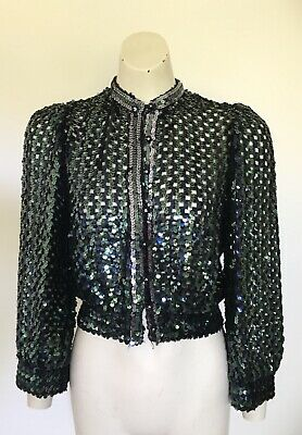 Women's Vintage PEER GYNT Teal Sequin Cropped Knit Disco Jacket S