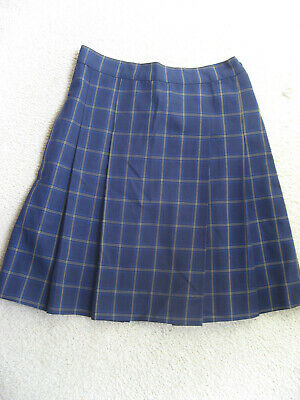 Girls Pleated School Check Skirt Ink Navy Uniform size 6 New