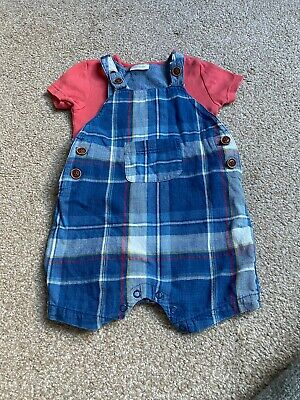 Baby Boys Toddler Next Short Checked Dungarees Age 12-18 Months!