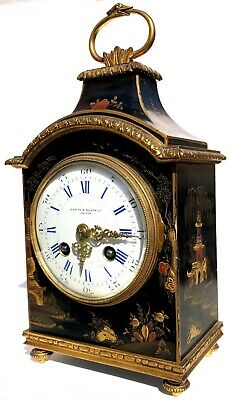 Antique Waring & Gillow London Black Laquered Chinoiserie Clock Chiming French
