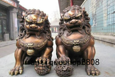 Chinese Bronze Copper Fengshui Evil Guardian Door Beast  Fu Foo Dog Lion Pair
