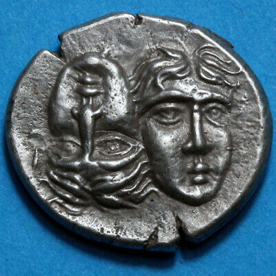 Ancient Greek Coin SILVER Stater Istros, Thrace Circa 400 BC Tween Eagle Dolphin