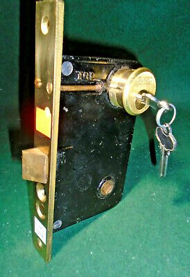 "RUSSWIN 11248 ENTRY LOCK NEW OLD STOCK w/CYLINDER & KEYS 7 3/4"" FACE NICE(11811)"