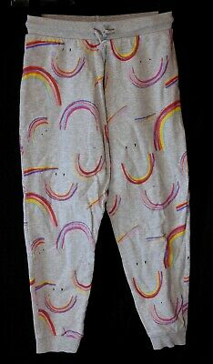 Girls Next Light Grey Multi Rainbow Smile Cuffed Joggers Trousers Age 10 Years