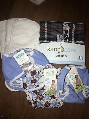 NEW Cloth Diaper Lot 7 Piece Lot. Rumparooz Pail Liner Thirsties Duo Wrap