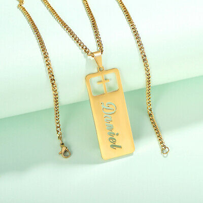 Personalized DIY Name Initials Women Necklace Chain Star Cross Tag Pendant Gift