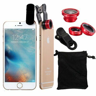 For Cell Phone Fish Eye Camera Lens Set Kit 3in1 Clip-on Wide Angle Macro Red