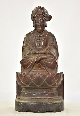 Antique Chinese Red Gilt Wood Carved Statue Figure Buddha, 1887 of Qing Dynasty