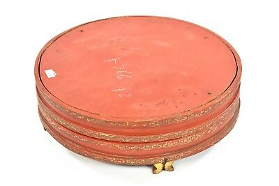 Antique Chinese Red & Gilt Wooden Fruit / Candy Tray / Box