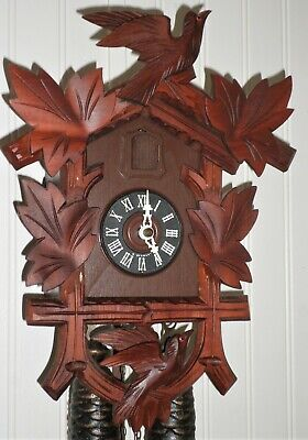 Very Nice Rare Red Mahogany 2 Bird Hand Carved 8 Day Black Forest Cuckoo Clock!
