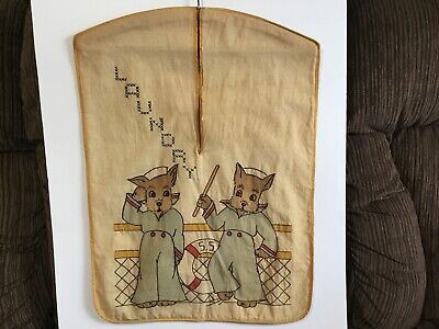 Vintage LAUNDRY Stacker~Embroidered Sailor Rabbits W/ CrossStitch W/ Wood Hanger