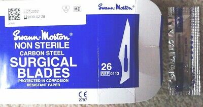 SWANN MORTON scalpel blades, No.26, pack of 200 to fit No.4 handle