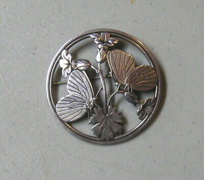 Vintage Georg Jensen # 283 Round Sterling Brooch with Butterflies and Flowers