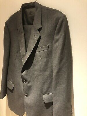Daks Mens Charcoal Two Piece Suit 100% Wool ~ Size 40 Chest /  36W