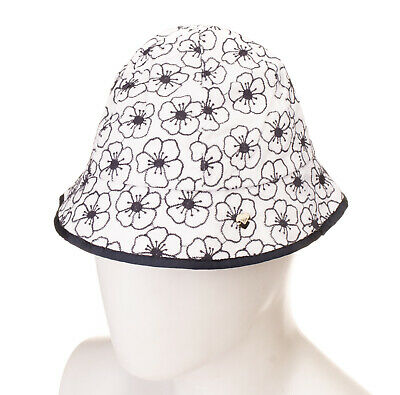 ARMANI JUNIOR Bucket Hat Size S Embroidered Flowers Fully Lined Grosgrain Trim