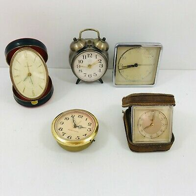 Job Lot of 5 Vintage Travel Alarm Clocks Spares &/Or Repairs