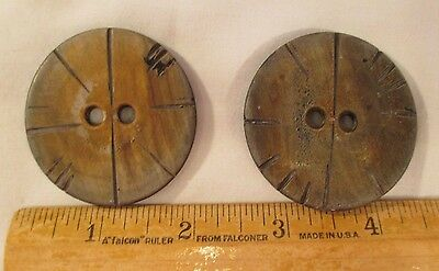 "2 Huge Over Sized 2"" Round Vintage Wood Buttons ~ Each Hand Carved Decoration"