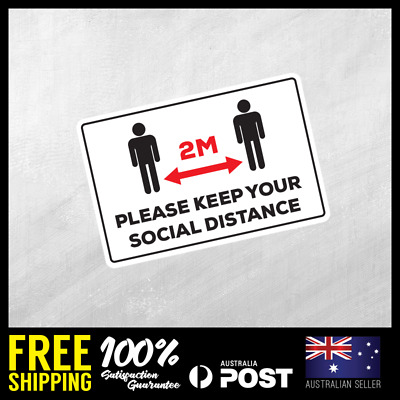KEEP SOCIAL DISTANCE - Self Adhesive Sticker Decals Workshop Safety Sign
